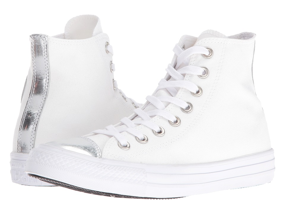 Converse - Chuck Taylor All Star Brush-Off Leather Toecap Hi (White/Pure Silver/White) Women's Shoes