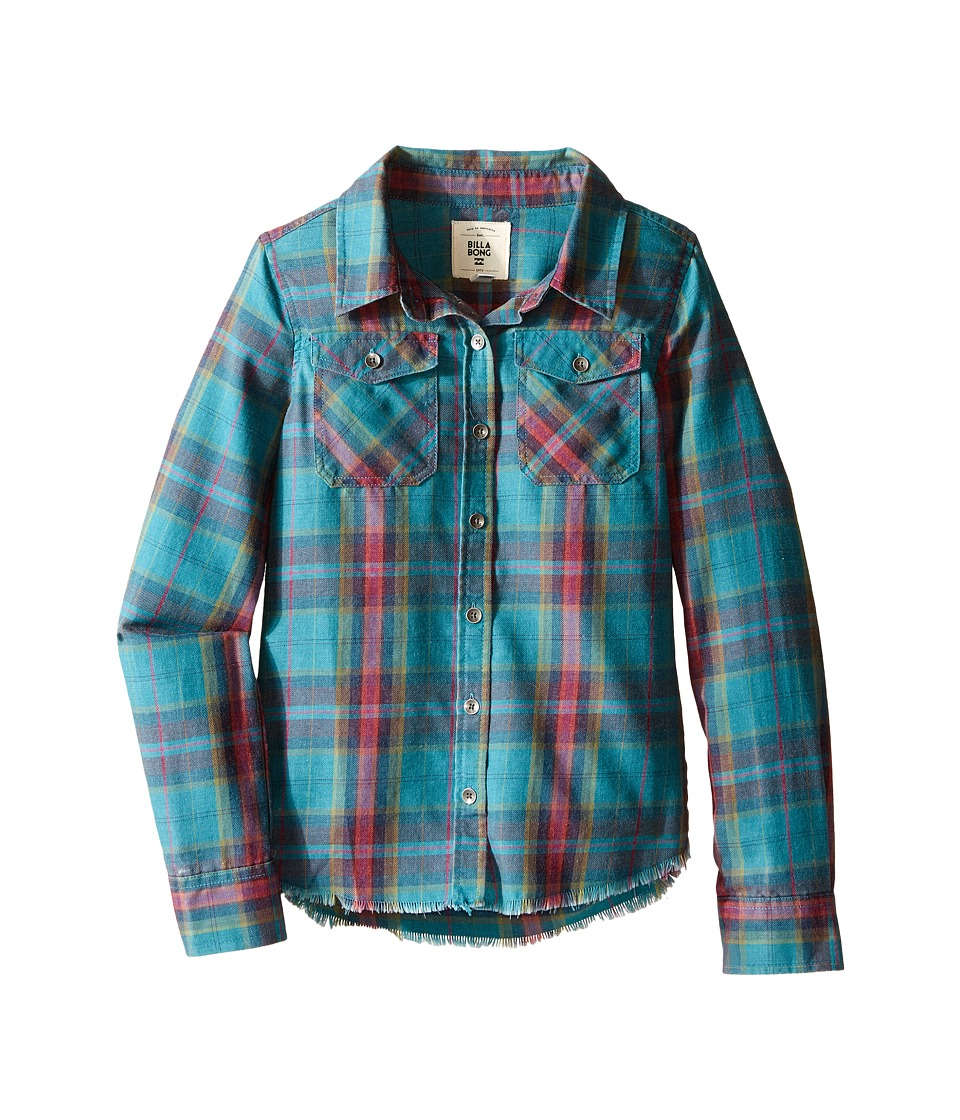 Billabong Kids - Flannel Frenzy Top (Little Kids/Big Kids) (Emerald Bay) Girl's Long Sleeve Button Up