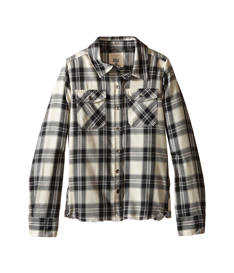 Billabong Kids - Flannel Frenzy Top (Little Kids/Big Kids) (White Cap) Girl's Long Sleeve Button Up
