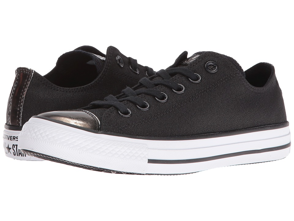 Converse - Chuck Taylor All Star Brush-Off Leather Toecap Lo (Black/Pure Silver/White) Women's Shoes