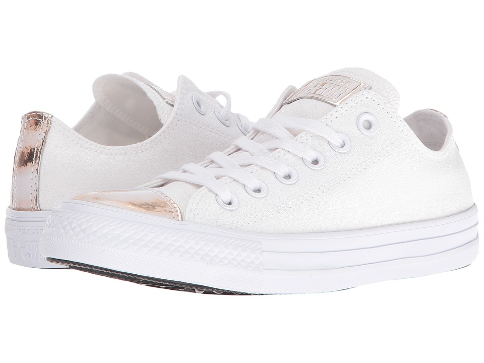 Converse - Chuck Taylor All Star Brush-Off Leather Toecap Lo (White/Light Gold/White) Women's Shoes