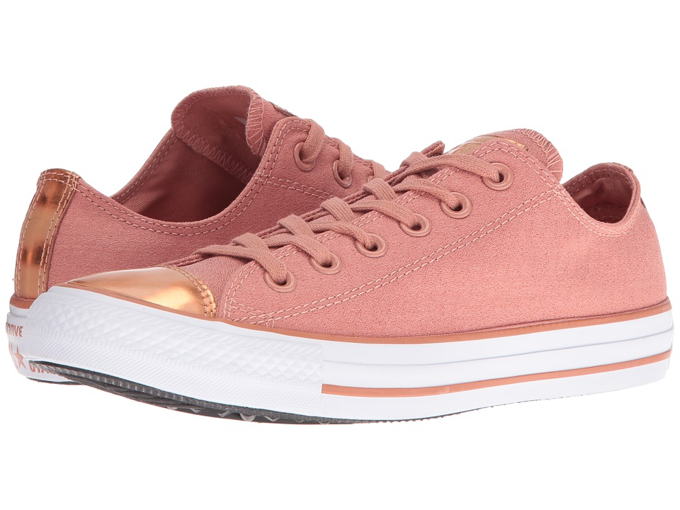 Converse - Chuck Taylor All Star Brush-Off Leather Toecap Lo (Pink Blush/Blush Gold/White) Women's Shoes