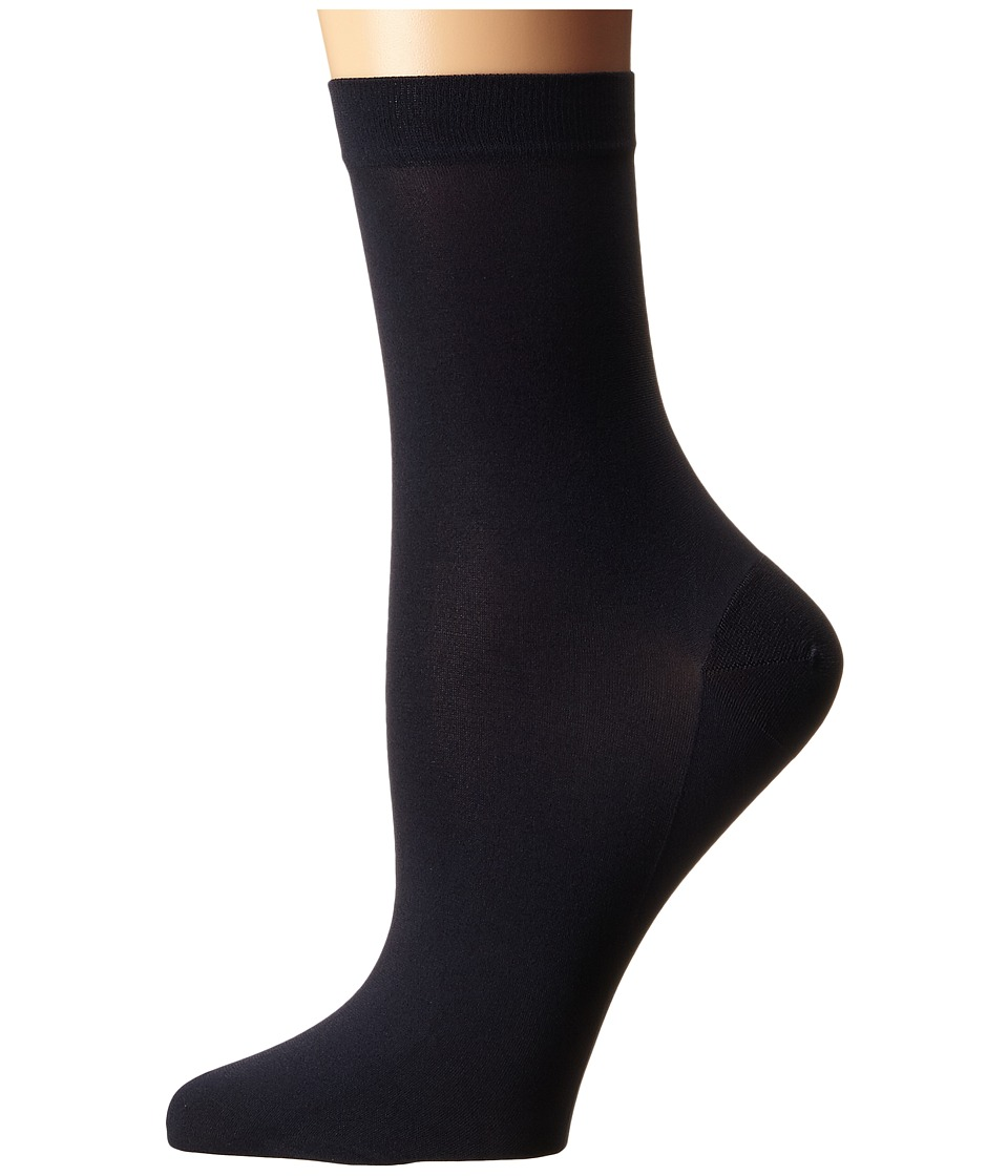 Wolford - Satin Opaque Nature Socks (Midnight) Women's Crew Cut Socks Shoes