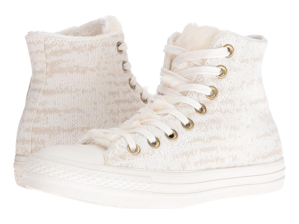 Converse - Chuck Taylor All Star Knit + Fur Hi (Vaporous Grey/White/Egret) Women's Shoes