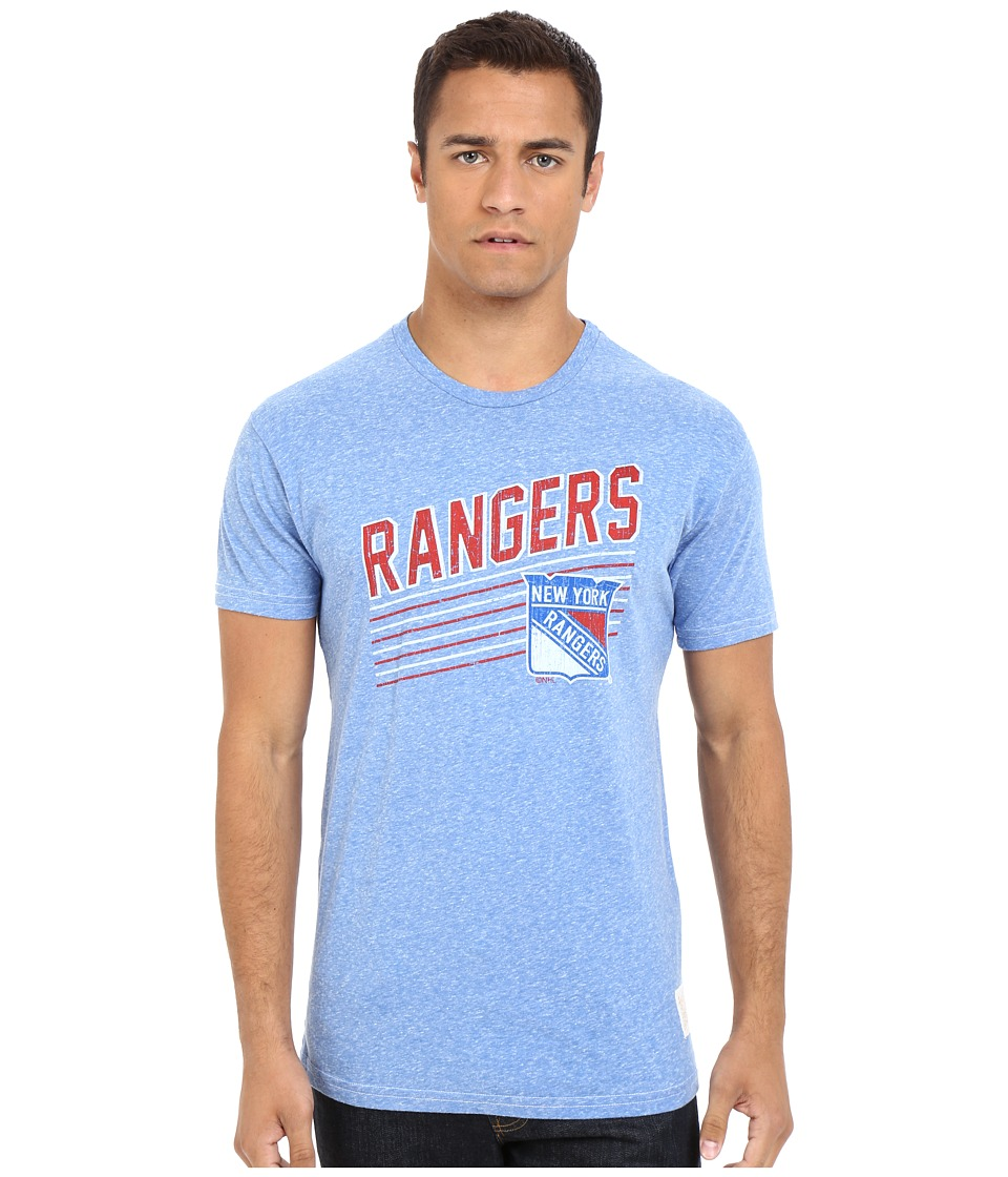 The Original Retro Brand - Short Sleeve Tri-Blend New York Rangers T-Shirt (Streaky Royal) Men's Short Sleeve Pullover