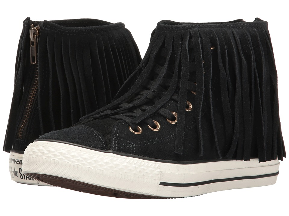 Converse - Chuck Taylor All Star Suede + Shearling Fringe Hi (Black/Black/Egret) Women's Shoes