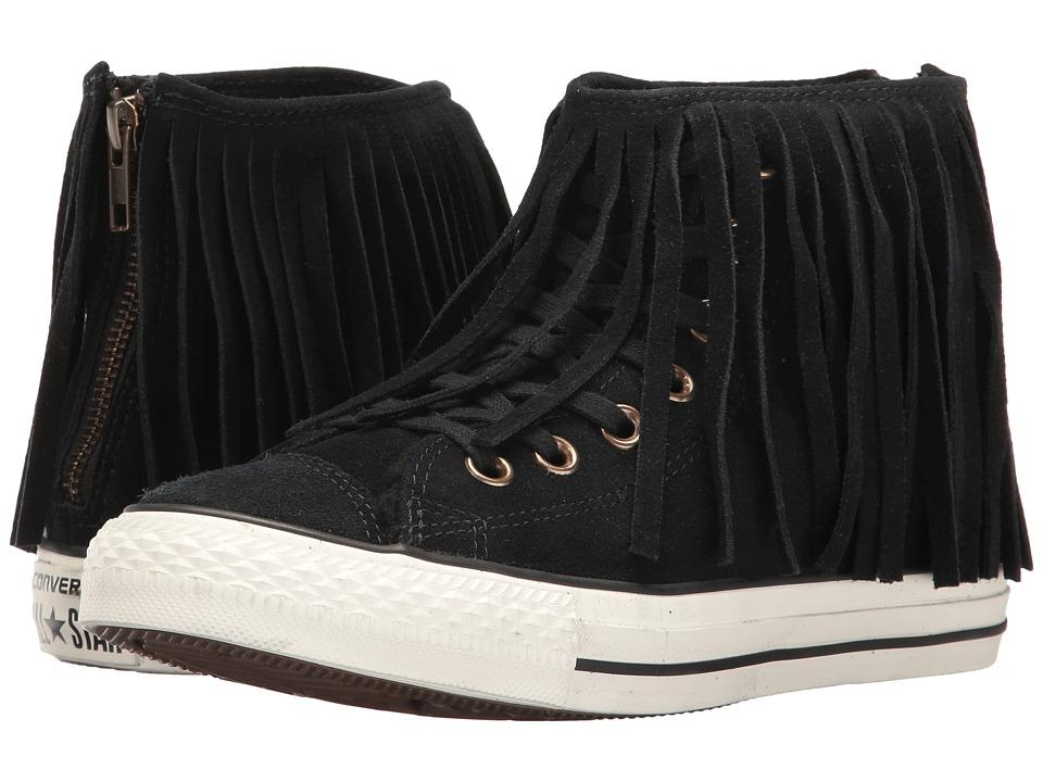 Converse - Chuck Taylor All Star Suede + Shearling Fringe Hi (Black/Black/Egret) Women's Shoes