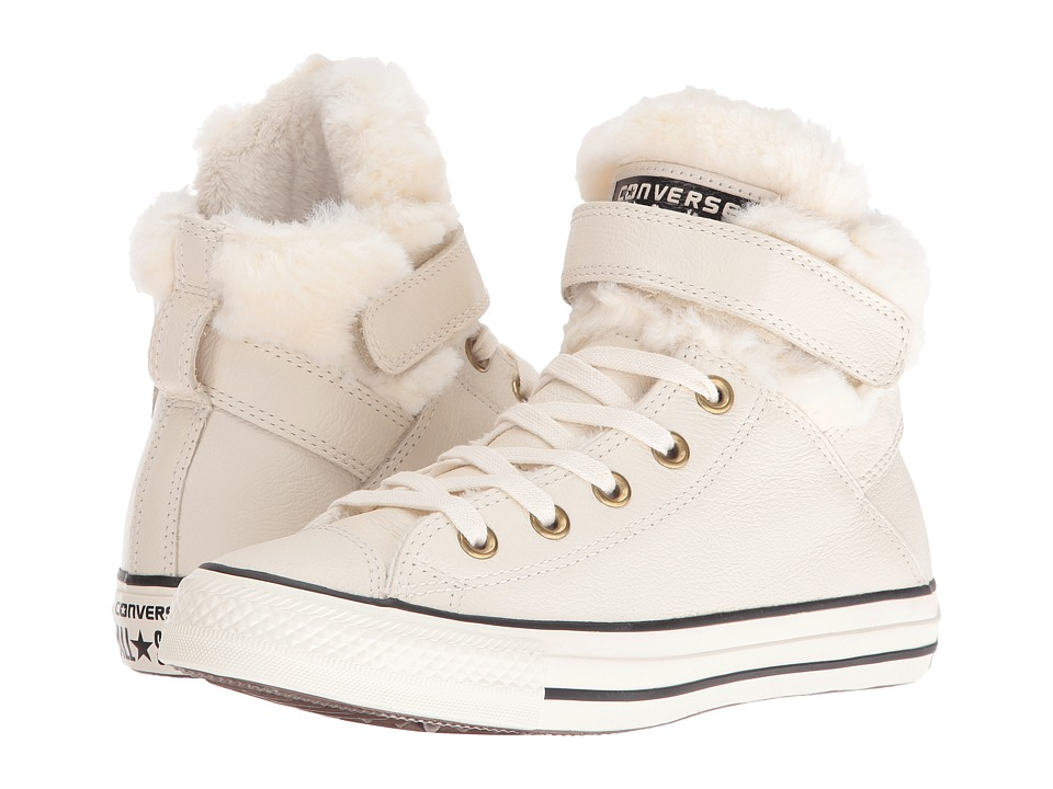 Converse - Chuck Taylor All Star Brea Leather + Fur Hi (Parchment/Black/Egret) Women's Shoes