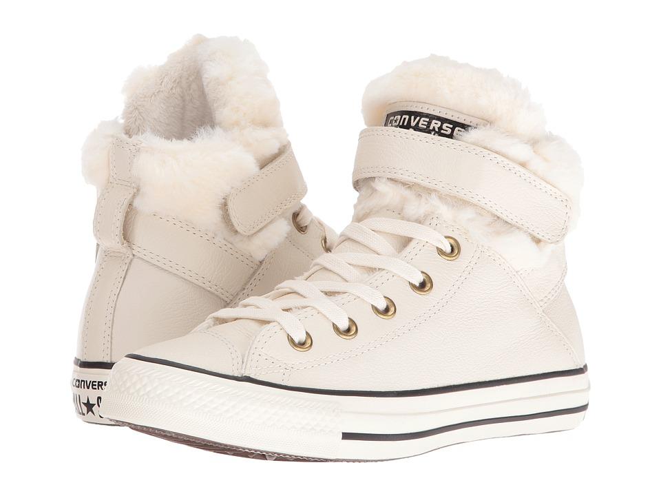 Converse - Chuck Taylor All Star Brea Leather + Fur Hi (Parchment/Black/Egret) Women's Shoes