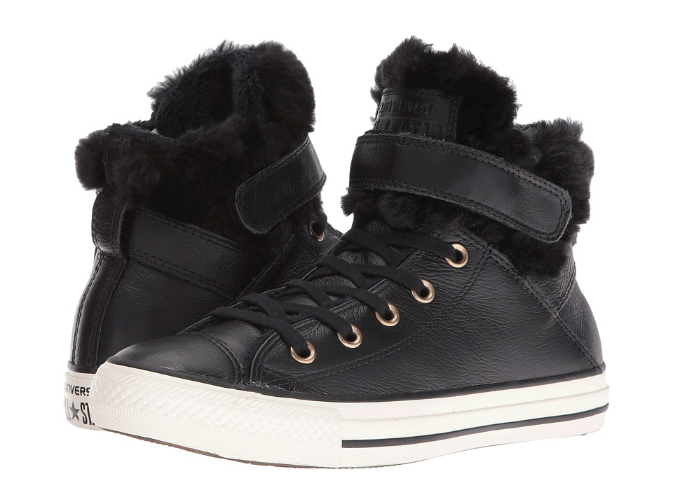 Converse - Chuck Taylor All Star Brea Leather + Fur Hi (Black/Black/Egret) Women's Shoes