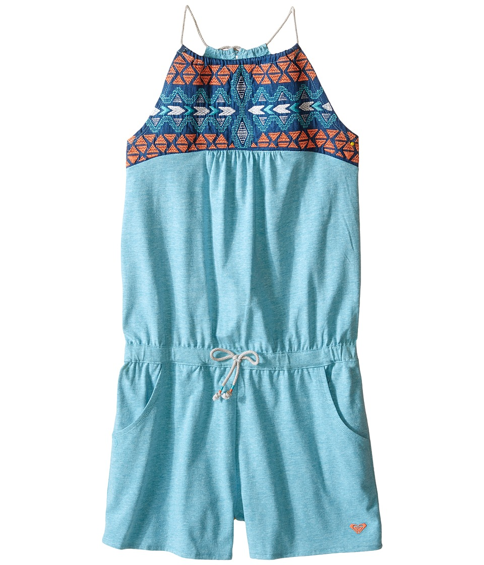 Roxy Kids - Sunbreeze Romper (Big Kids) (Peacock Blue) Girl's Jumpsuit & Rompers One Piece