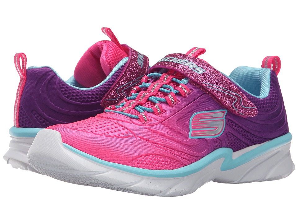 SKECHERS KIDS - Swirly Girl - Shine Vibe (Toddler) (Neon Pink/Purple) Girl's Shoes