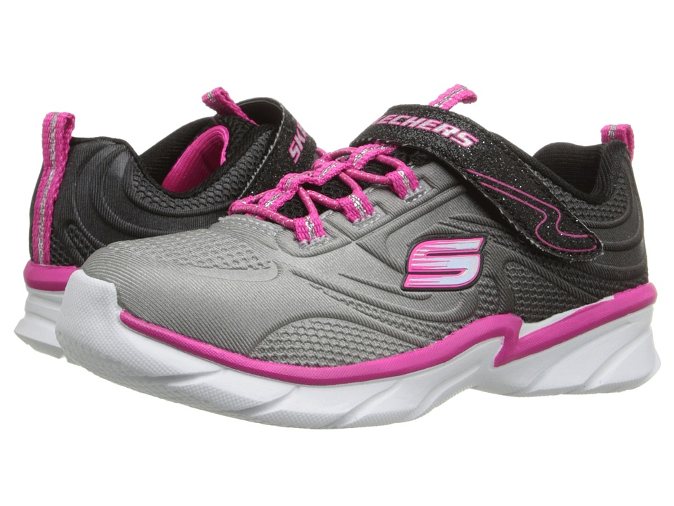 SKECHERS KIDS - Swirly Girl - Shine Vibe (Toddler) (Black/Neon Pink) Girl's Shoes