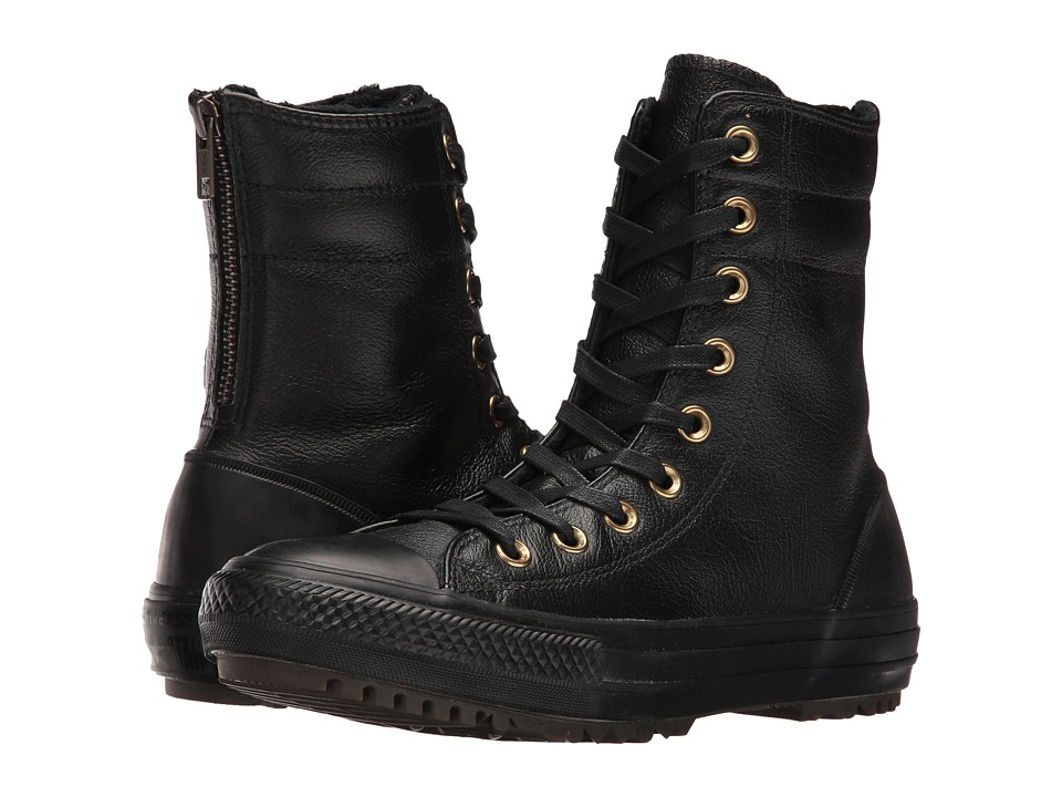 Converse - Chuck Taylor All Star Leather + Fur Hi-Rise Boot XHi (Black/Black/Black) Women's Shoes