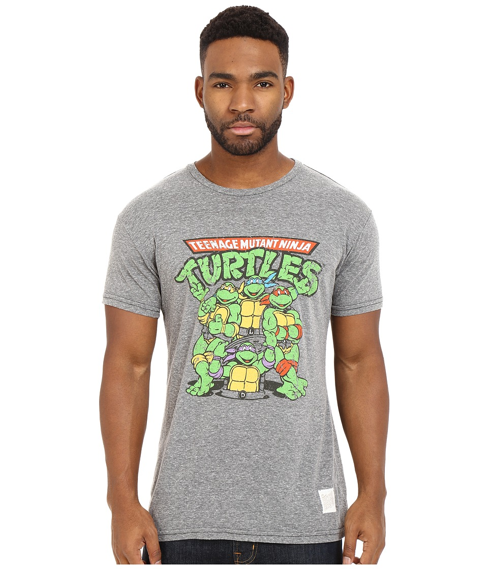 The Original Retro Brand - Short Sleeve Tri-Blend Ninja Turtles T-Shirt (Streaky Grey) Men's T Shirt