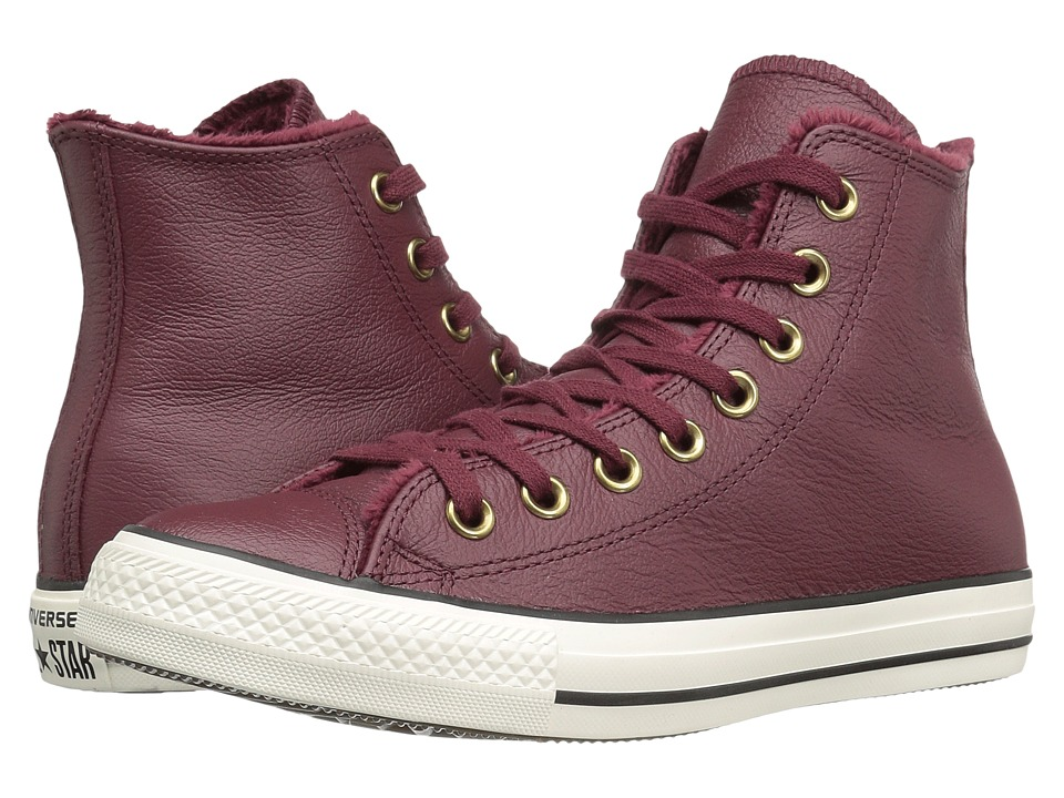 Converse Chuck Taylor All Star Leather + Fur Hi (Deep Bordeaux/Black/Egret) Women
