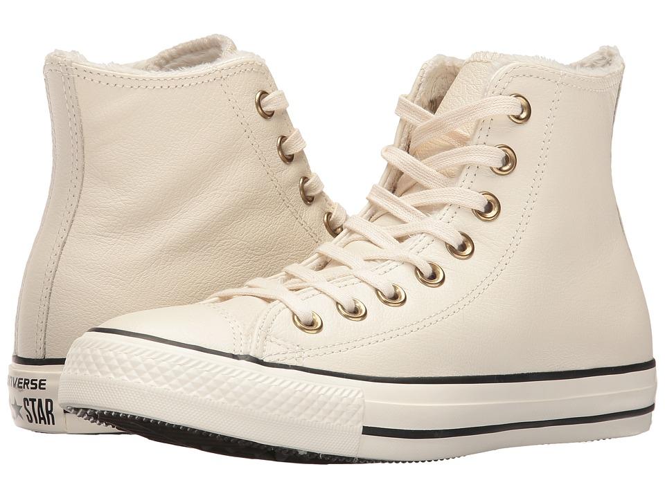 Converse - Chuck Taylor All Star Leather + Fur Hi (Parchment/Black/Egret) Women's Shoes