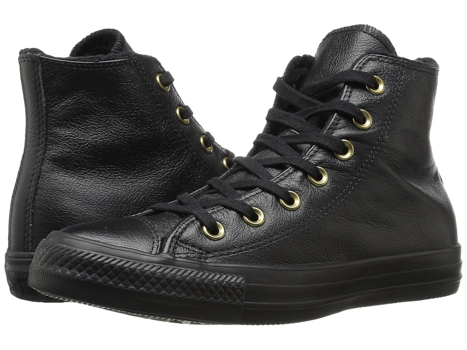 Converse - Chuck Taylor All Star Leather + Fur Hi (Black/Black/Black) Women's Shoes