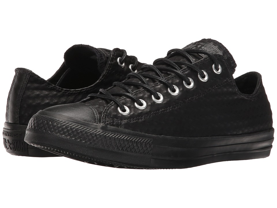 Converse Chuck Taylor All Star Craft Leather Ox (Black/Black/Black) Athletic Shoes
