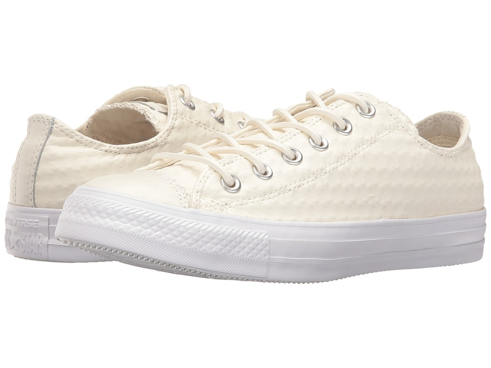 Converse Chuck Taylor All Star Craft Leather Ox (White/White/White) Athletic Shoes