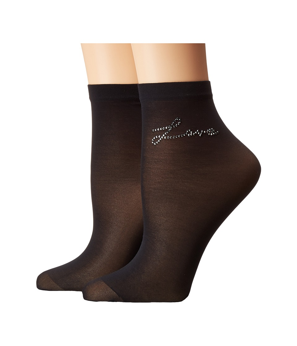 Wolford - Loveletter Socks (Black/Jet) Women's Crew Cut Socks Shoes