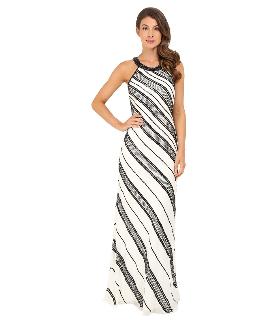 Adrianna Papell Halter Fully Beaded Georgette Gown Ivory-Black Dress