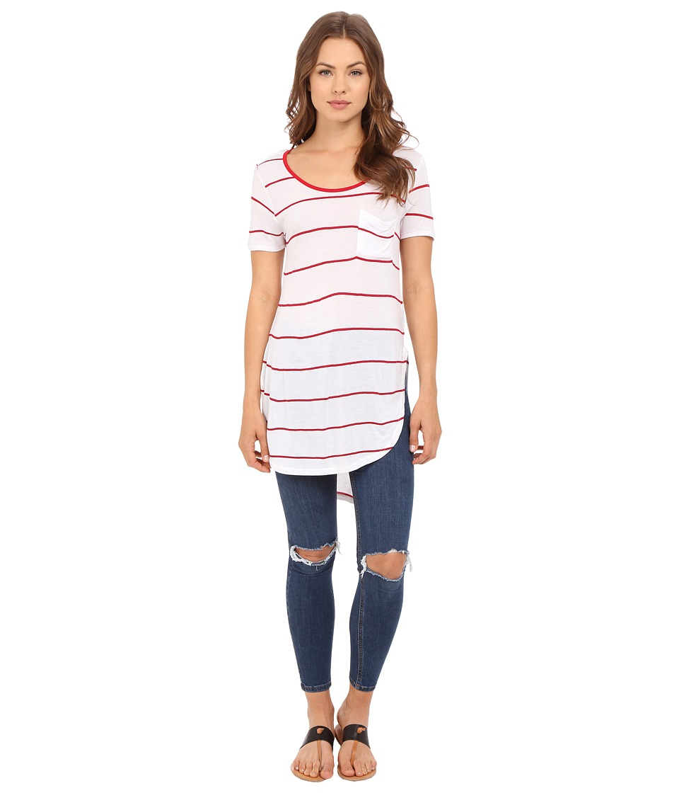 Culture Phit - Ada Round Neck Top with Pocket (Red/White) Women's Clothing