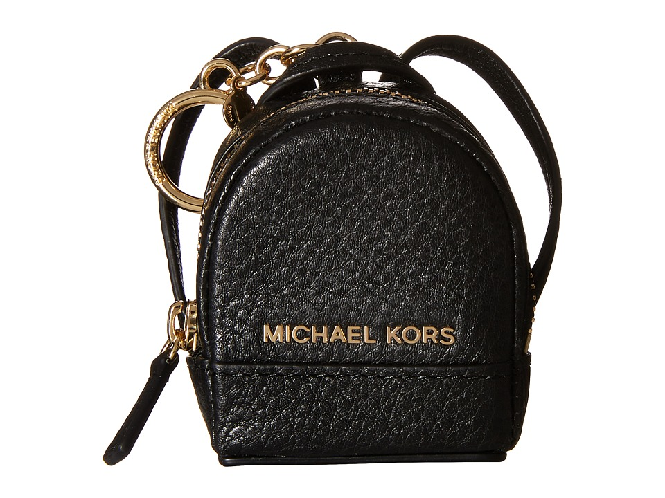MICHAEL Michael Kors - Leather Charms Rhea Backpack (Black) Wallet