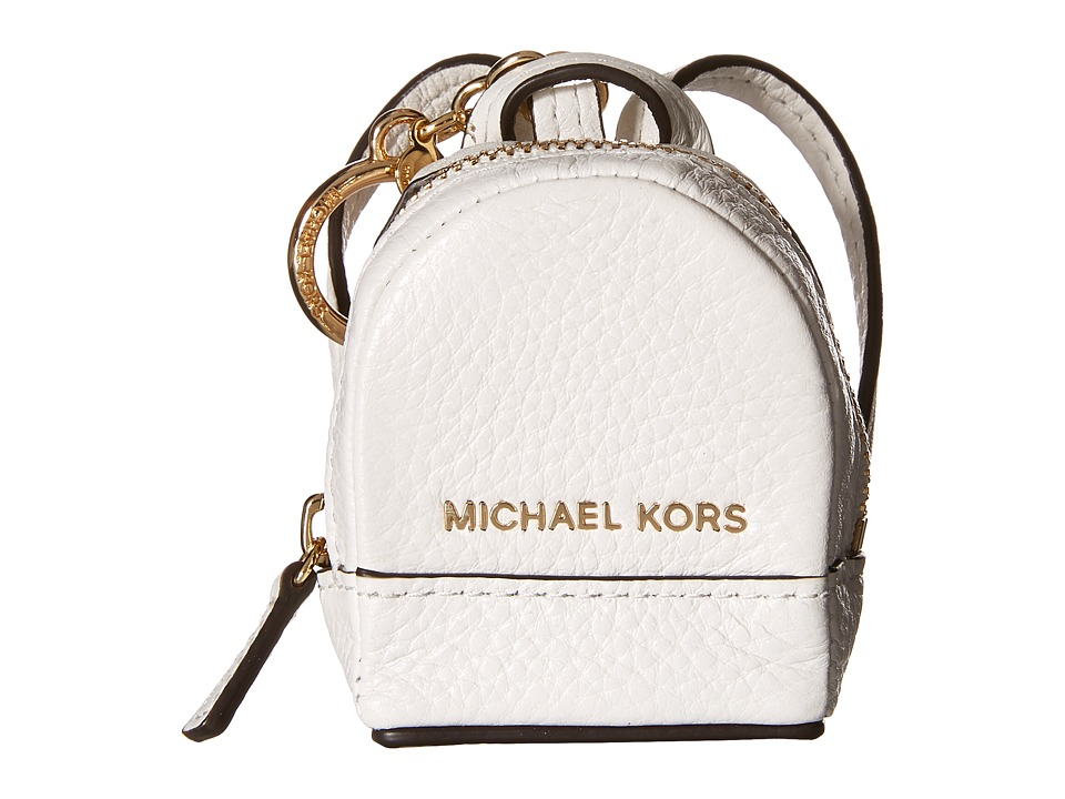 MICHAEL Michael Kors - Leather Charms Rhea Backpack (Optic White) Wallet