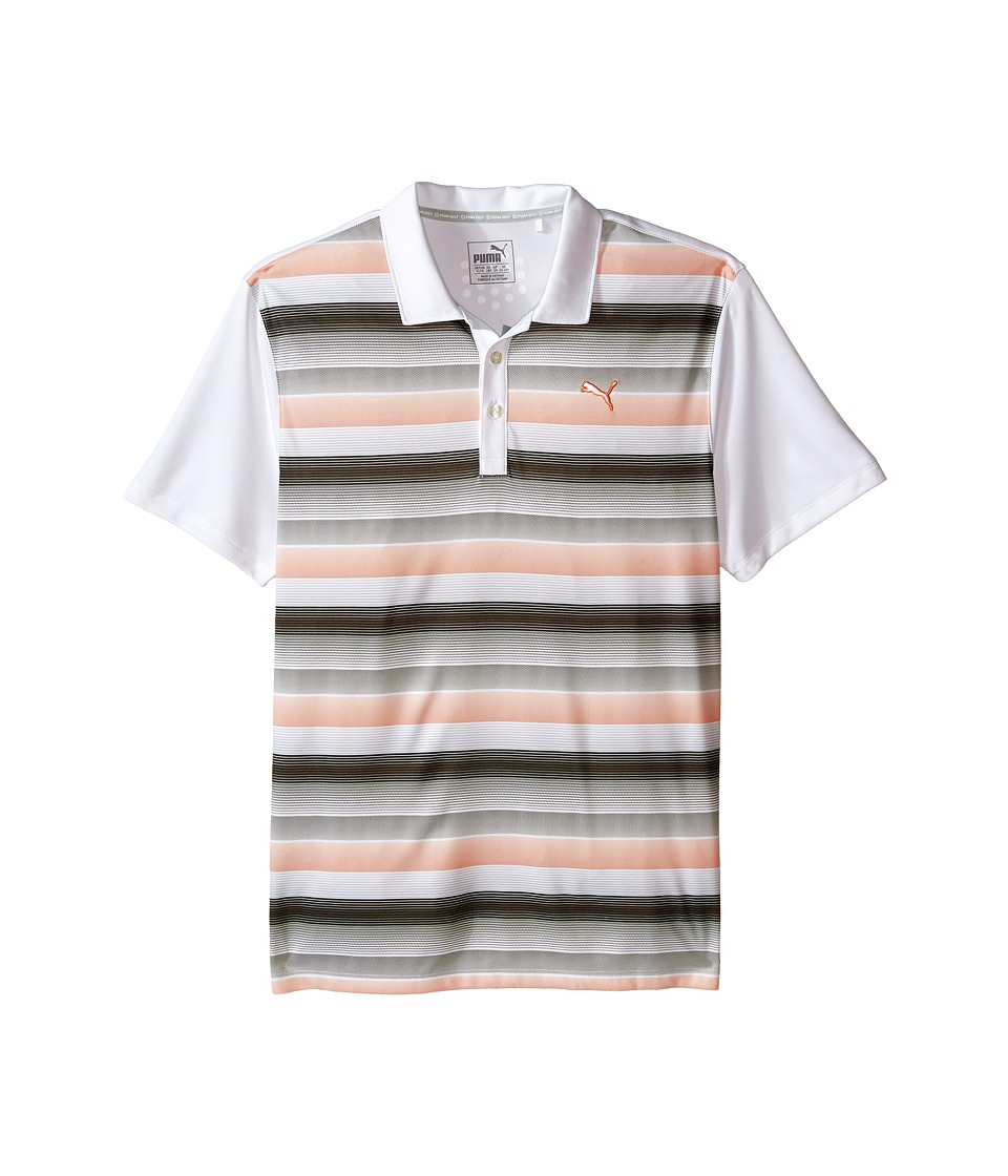 PUMA Golf Kids - Roadmap Polo JR (Big Kids) (Bright White/Vibrant Orange) Boy's Short Sleeve Knit