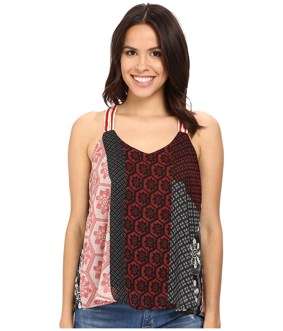 Brigitte Bailey - Dailia Spaghetti Strap Patchwork Tank Top (Red/Black) Women's Sleeveless