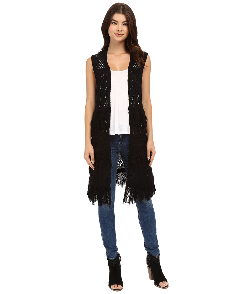 Brigitte Bailey - Belen Fringed Sweater Vest (Black) Women's Vest