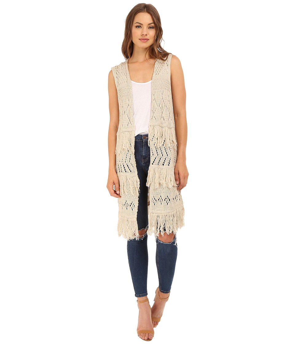 Brigitte Bailey - Belen Fringed Sweater Vest (Jute) Women's Vest