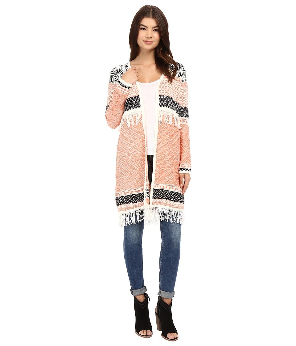 Brigitte Bailey - Briley Long Sleeve Fringed Cardigan (Pink/Black) Women's Sweater