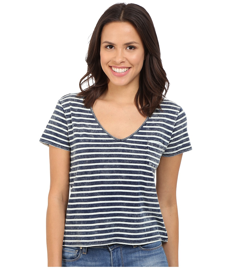 Brigitte Bailey - Aileen Short Sleeve V-Neck Top (Indigo/Ivory) Women's Clothing
