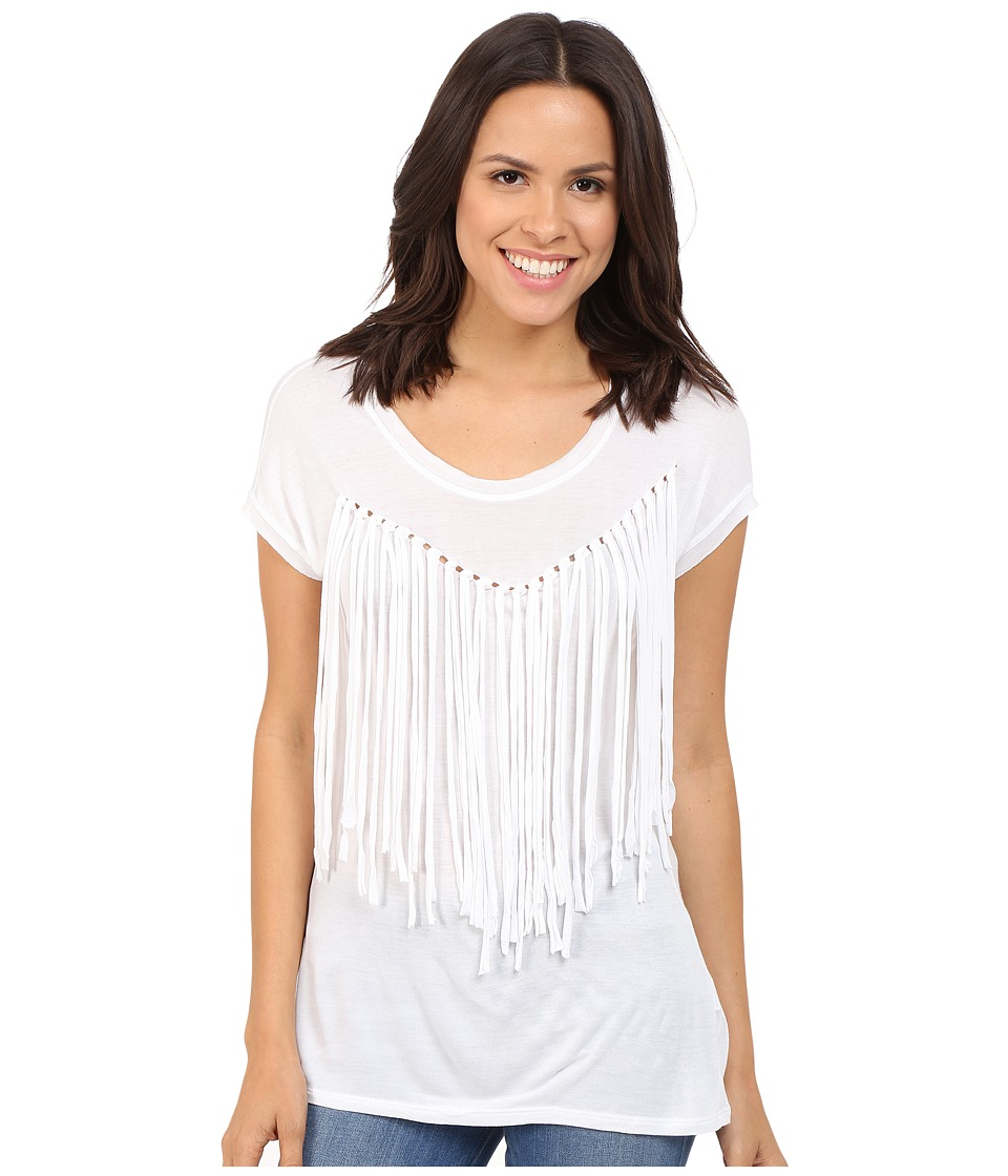 Brigitte Bailey - Adley Short Sleeve Fringe Top (White) Women's Clothing