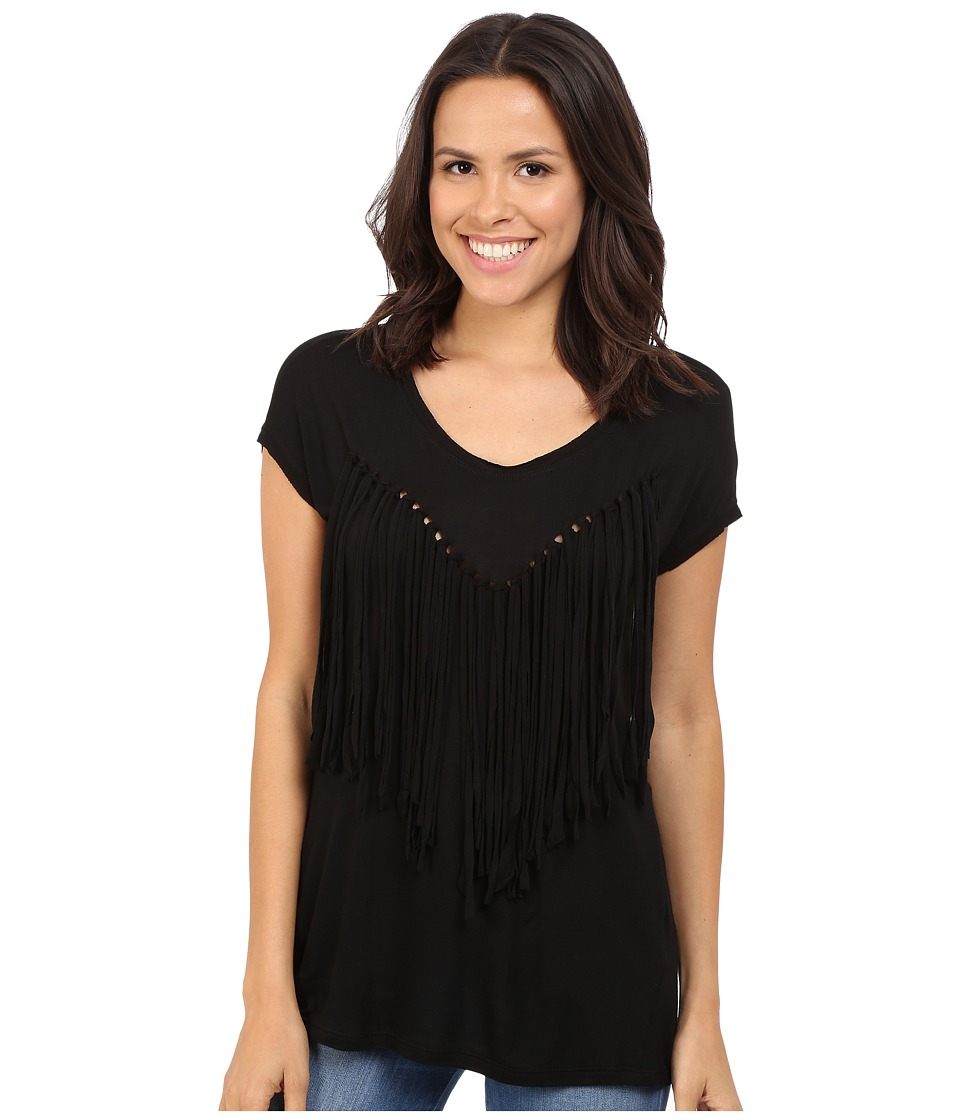 Brigitte Bailey - Adley Short Sleeve Fringe Top (Black) Women's Clothing