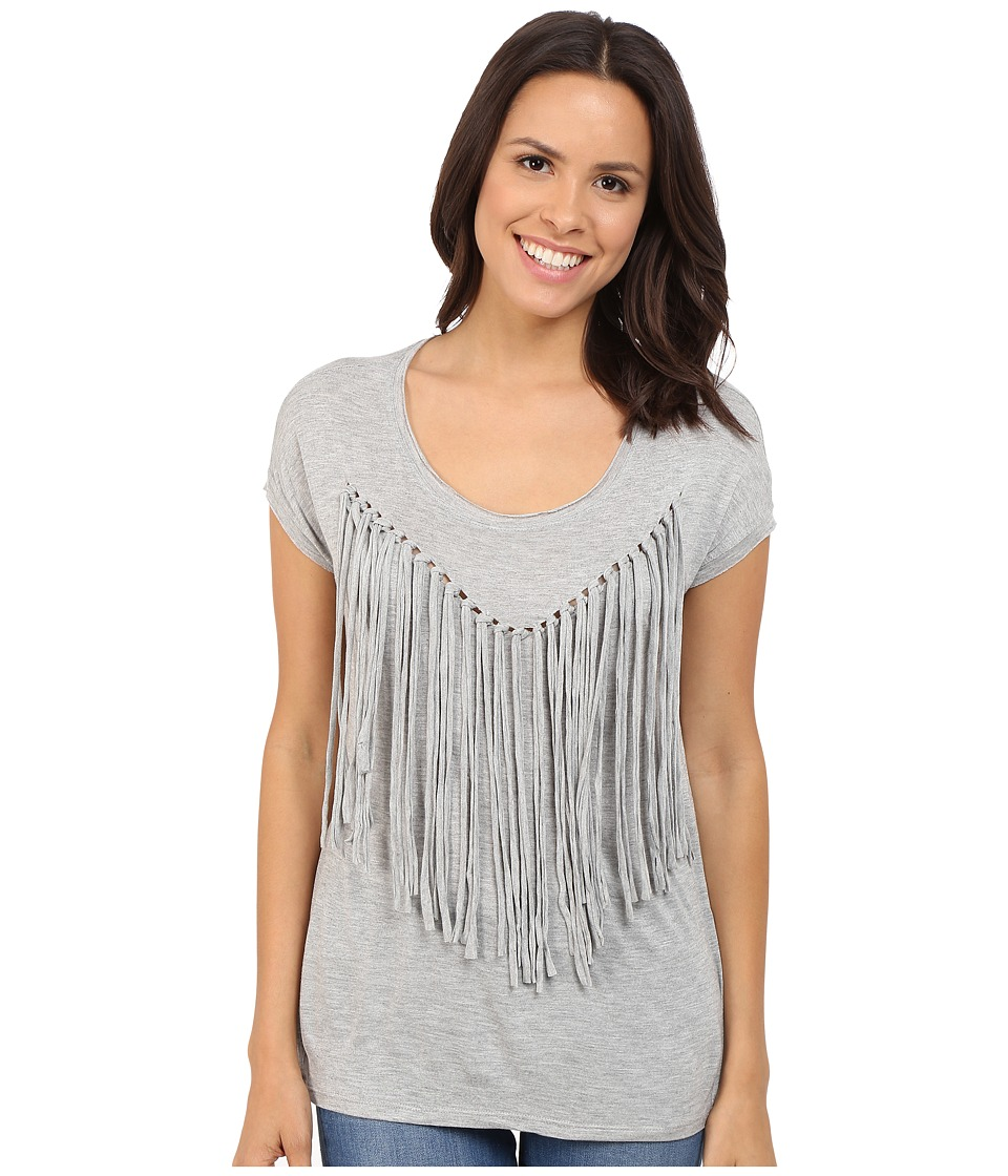 Brigitte Bailey - Adley Short Sleeve Fringe Top (Heather Grey) Women