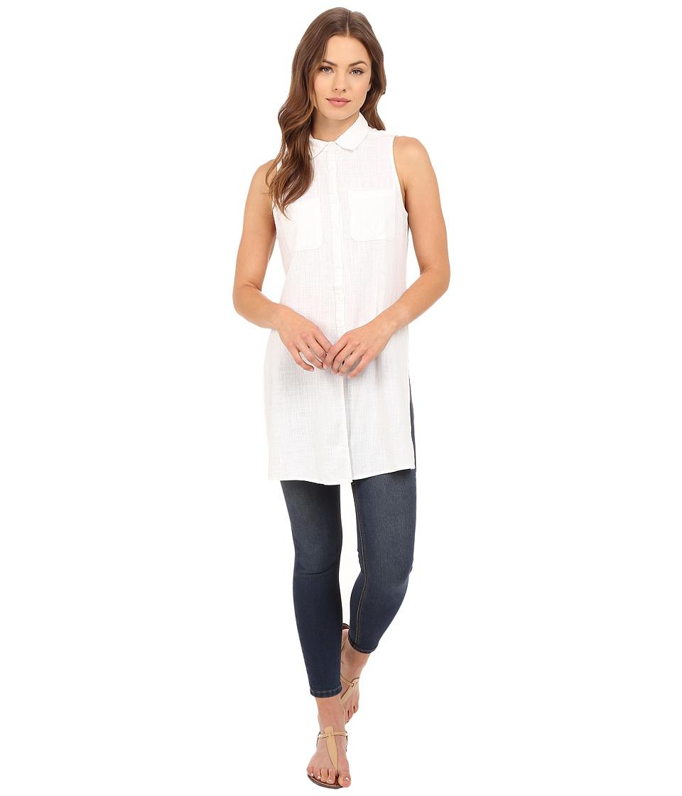 Brigitte Bailey - Briella Sleeveless Button Up Top (White) Women's Sleeveless