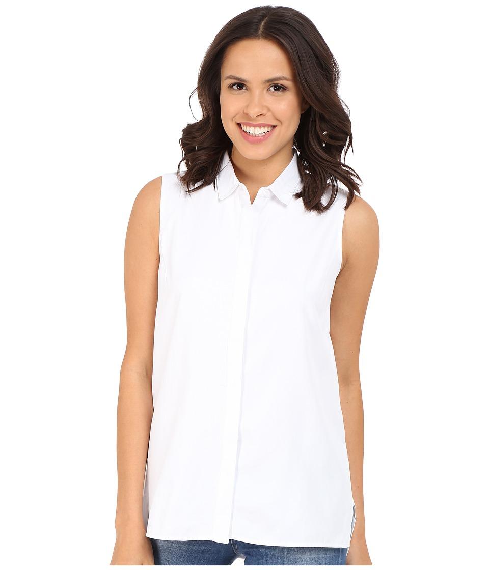 Brigitte Bailey - Bailee Sleeveless Button Up Top (White) Women's Sleeveless
