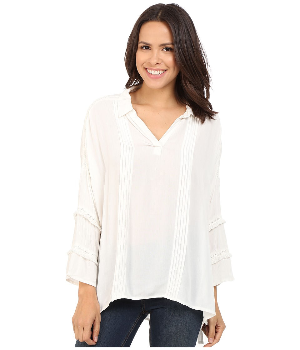 Brigitte Bailey - Adalynn 3/4 Sleeve Collared Top (White) Women's Clothing
