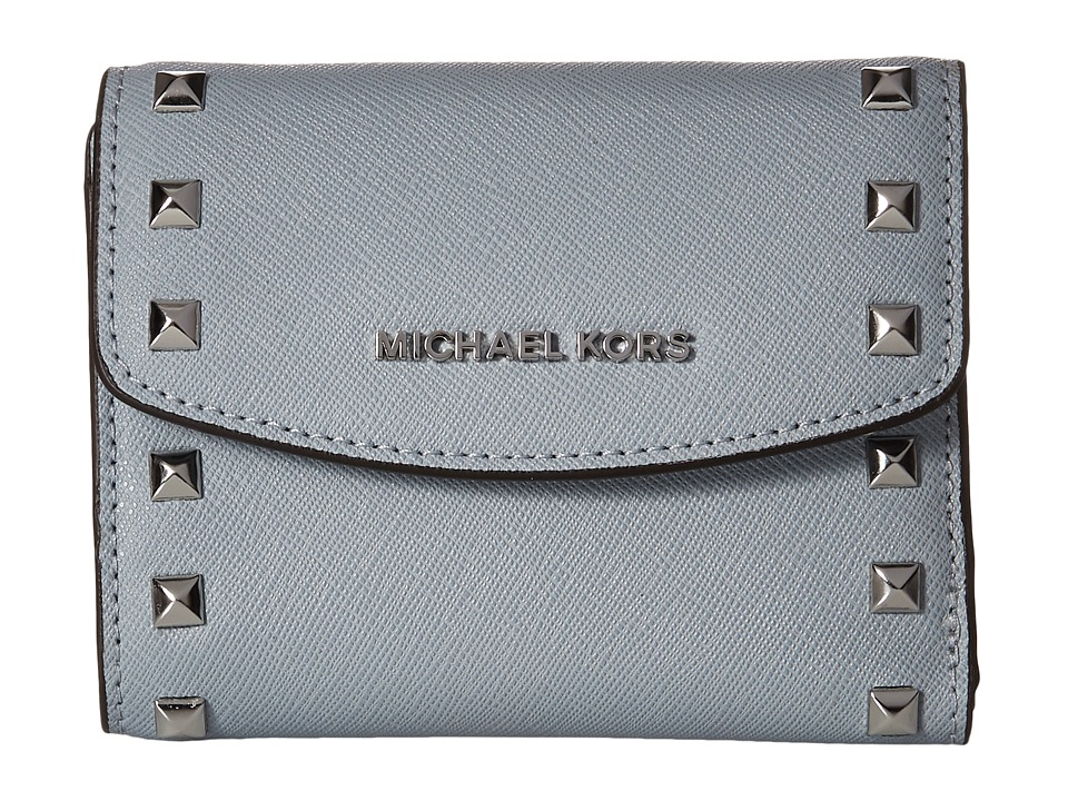MICHAEL Michael Kors - Ava Stud Carryall Card Case (Dusty Blue) Credit card Wallet
