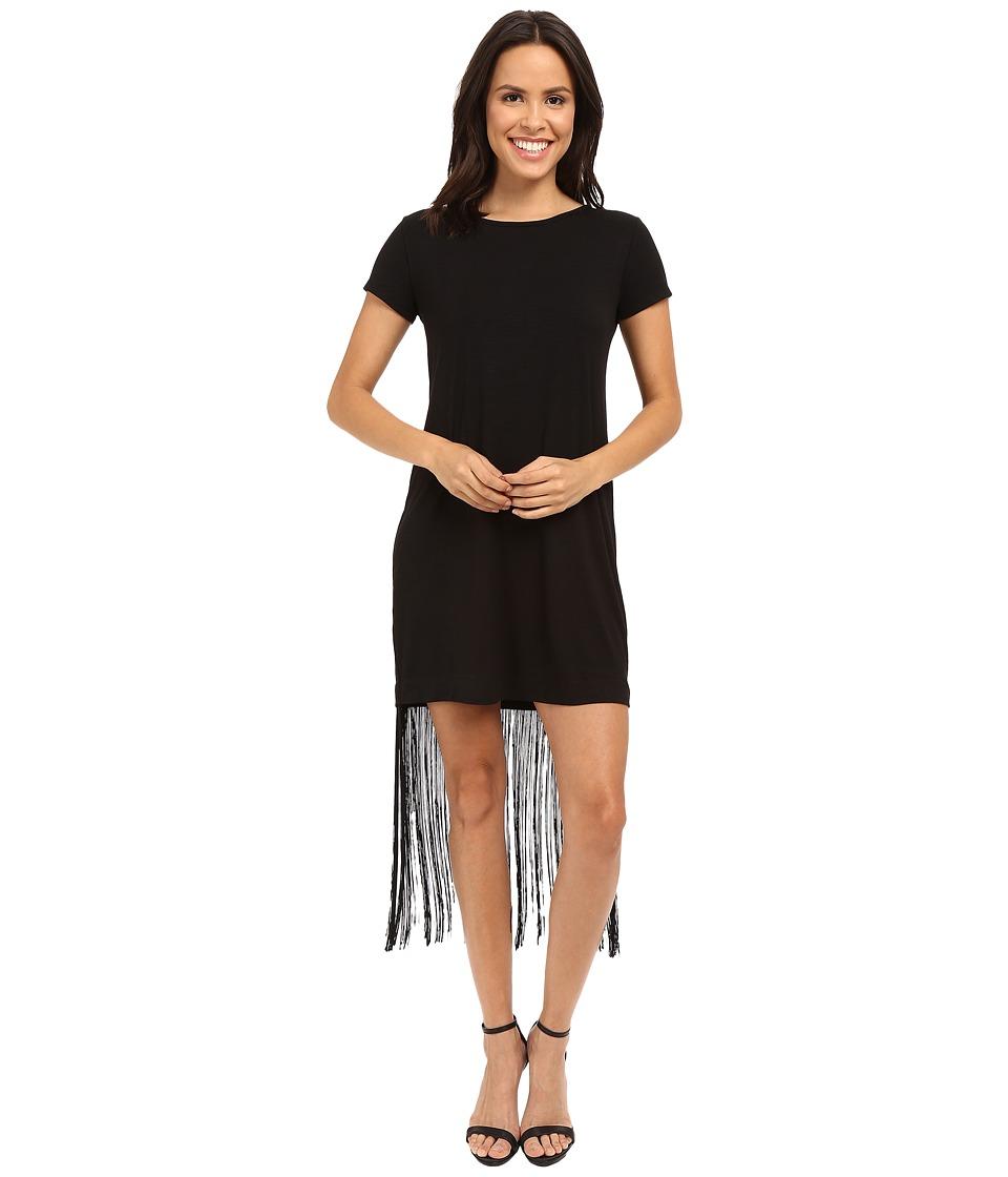 Brigitte Bailey Adeline Short Sleeve Fringe Dress (Black) Women