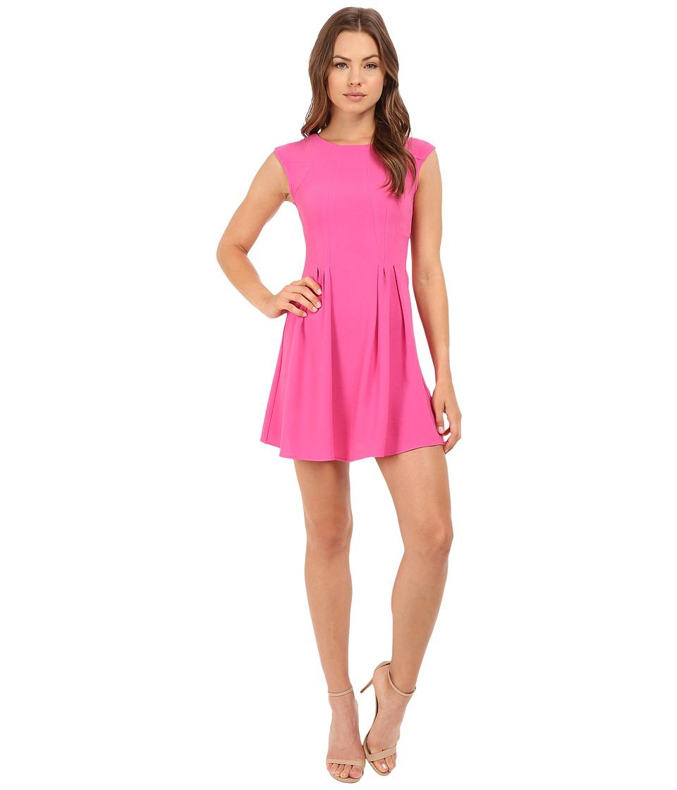 Brigitte Bailey - Delaney Cap Sleeve Pleated Dress (Fuchsia) Women's Dress