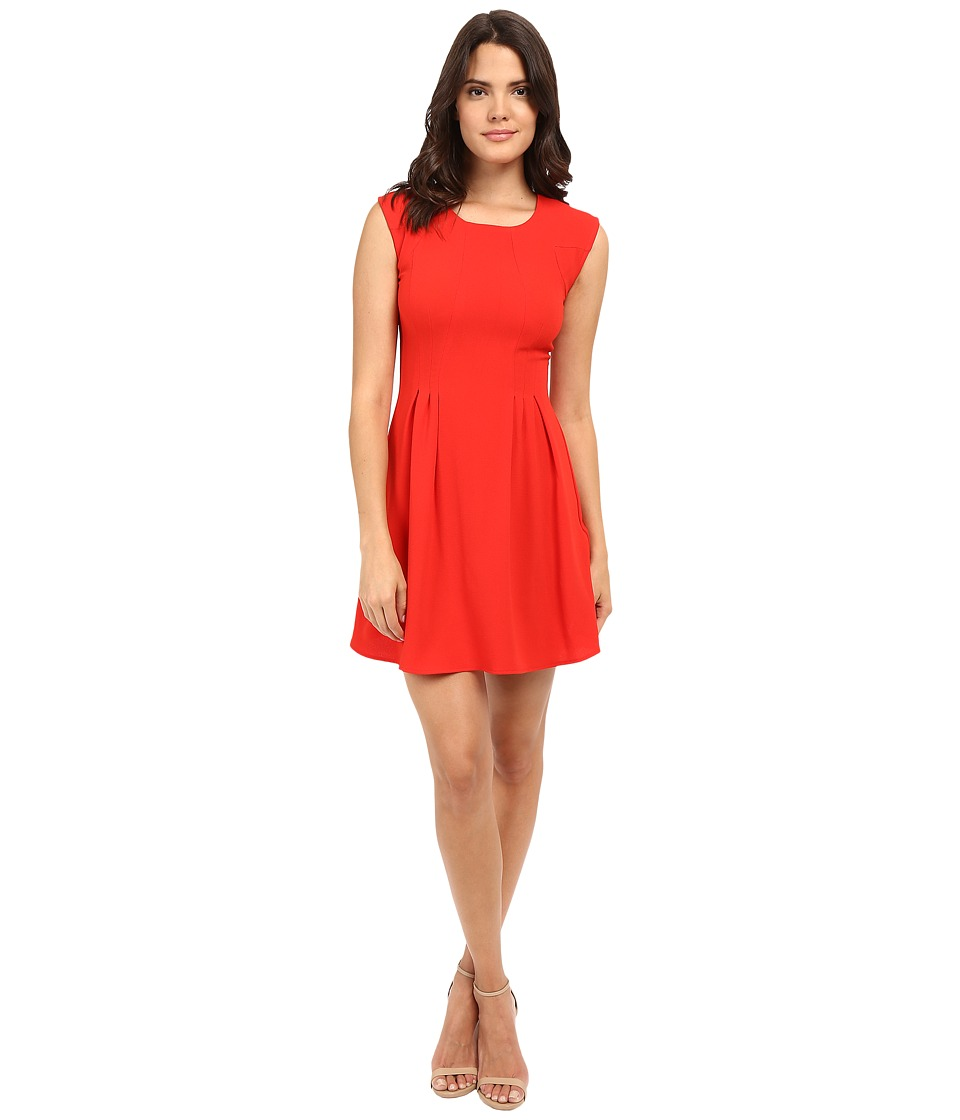 Brigitte Bailey - Delaney Cap Sleeve Pleated Dress (Red) Women's Dress
