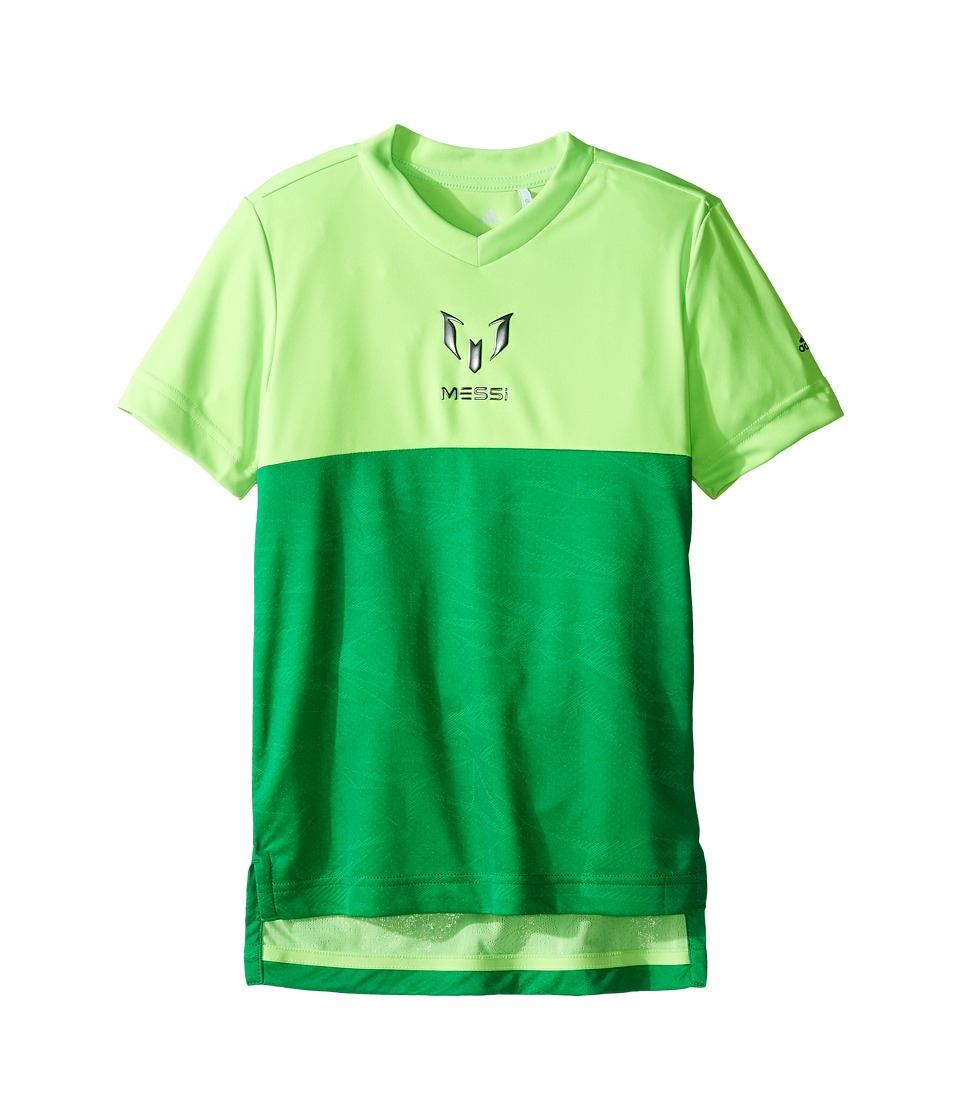 adidas Kids - Messi Icon Tee (Little Kids/Big Kids) (Solar Green) Kid's T Shirt