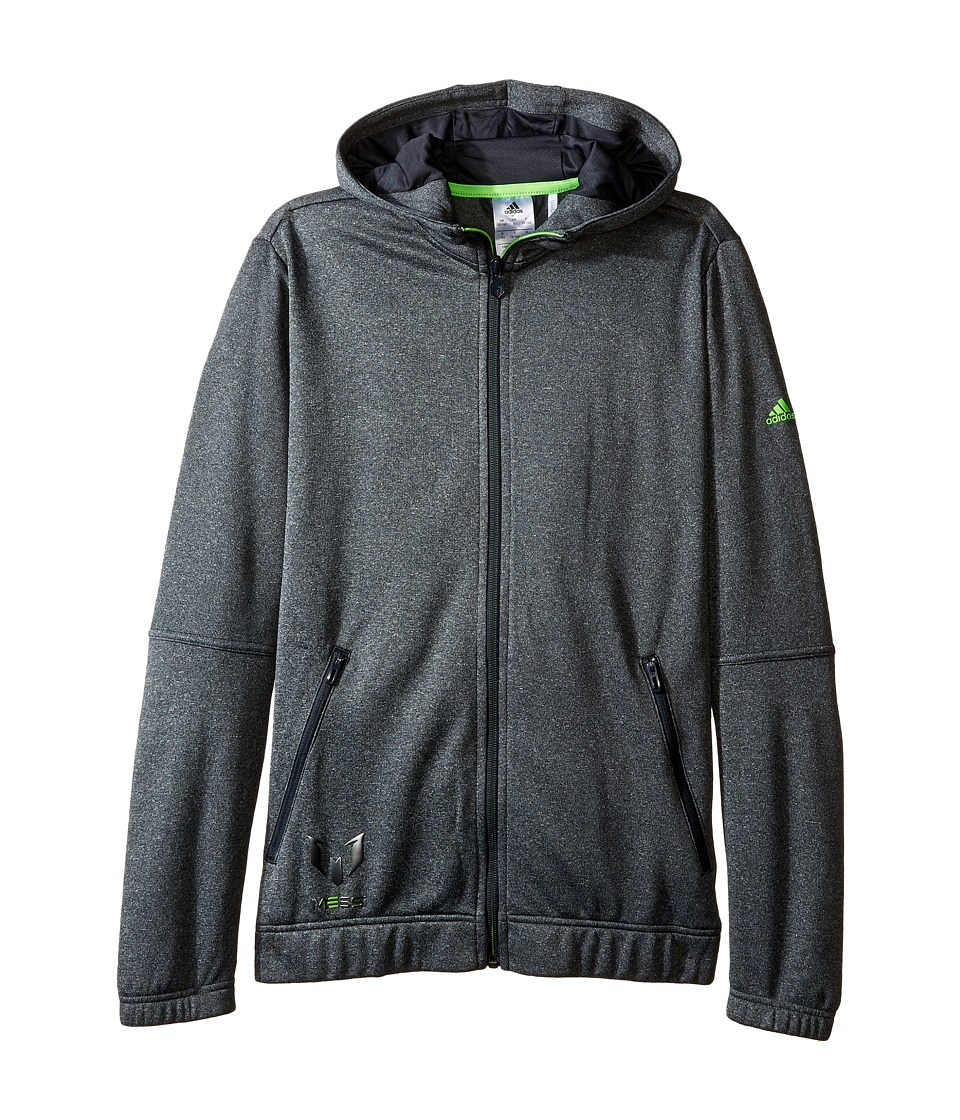 adidas Kids - Messi Full Zip Hoodie (Little Kids/Big Kids) (Dark Grey/Solar Green) Kid's Sweatshirt