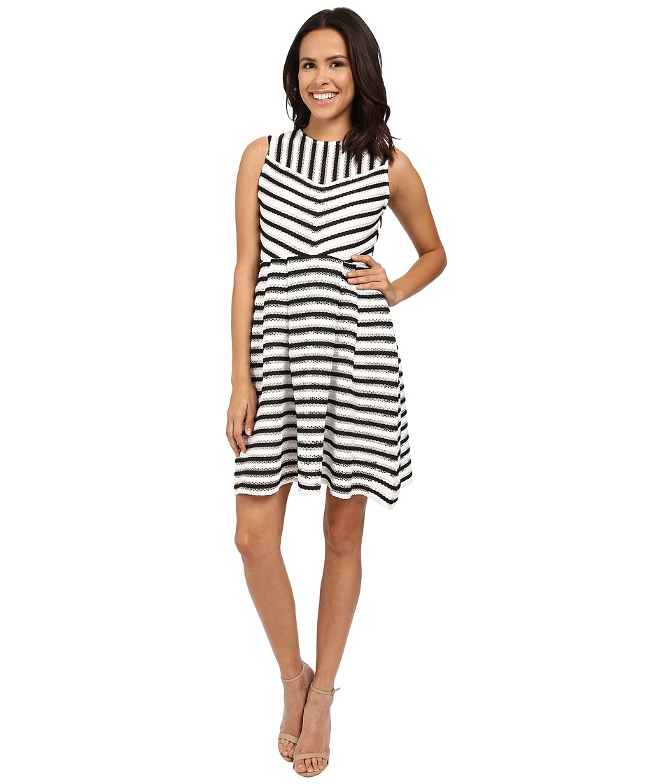 Christin Michaels - Gemma Sleeveless Flare Dress (White/Black) Women's Dress