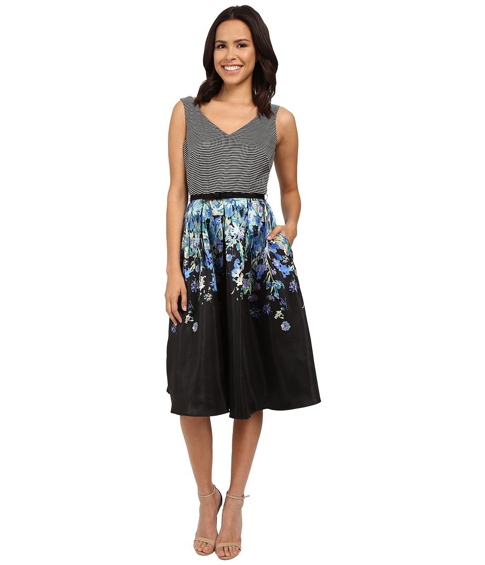 Christin Michaels Gracelyn Sleeveless Dress with Belt (Black/White/Blue) Women