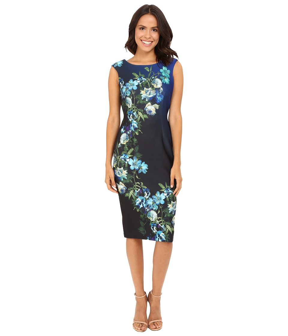 Christin Michaels - Halle Cap Sleeve Dress (Black/Blue) Women's Dress